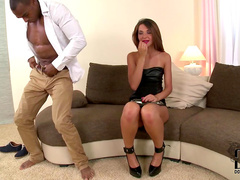Sweet beauty Alexis Brill is sucking a long black dick