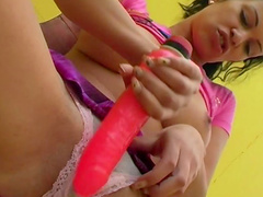 Nasty beauty Ellis is fucking her pussy with dildo