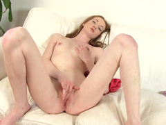 Busty beauty Ginger Sweets is poking her snatch
