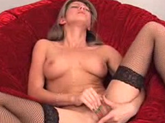 Slender blonde in tight stockings Jane