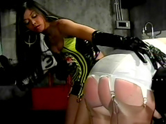 Slutty babe being spanked so hard