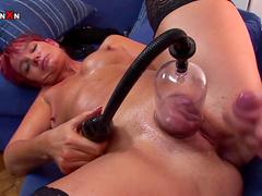 Redhead Lily is sucking dick and masturbating