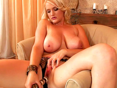 Chubby blonde MILF Siena is playing with toys