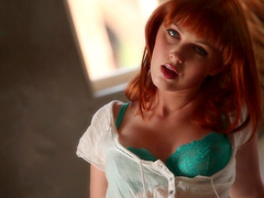 Redhead Marie McCray shows off her puss
