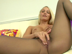 Bleached model is penetrating her tight vagina