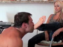 Sweet blonde is dominating over this man
