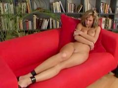 Curly brunette Zuzana Drabinova shows off her boobs