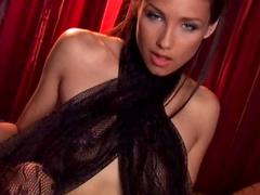 Cute glamorous babe Celeste Star pokes her puss