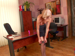 Russian office blonde Wiska plays with toys