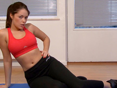 Sporty babe Ava Dalush plays with her dildo