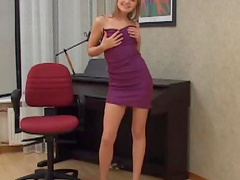 Slutty dress on sensual solo teen