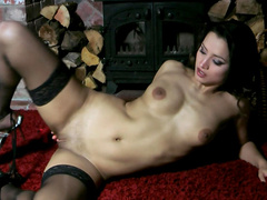 Slender brunette Chelsea French penetrates her pretty pussy
