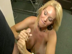 Cute blonde is giving a spicy blowjob