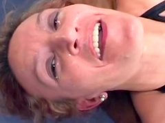 Stunning mom is swallowing sperm in the gangbang