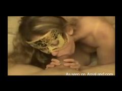 Hot masked girlfriend sucks cock