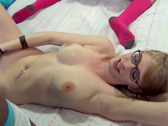 Sexy babes in glasses are banging like sluts