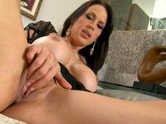 Slender busty brunette Mckenzie Lee demonstrates her shaved pussy