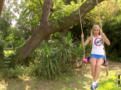 Teen blonde Chloe Toy plays with cute pink toys