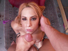 Blonde with big boobs Alyssa Lynn being fucked in face