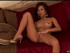 Skinny girl with a big dildo has solo sex