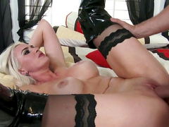 Busty blonde goes wild on cock