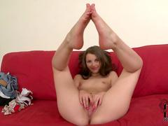 Horny brunette shows off her slender body
