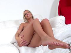 Hot foot fetish scene with Blanche Bradburry