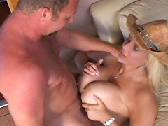 Busty blonde shows off her blowjob skills