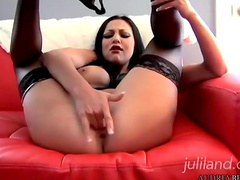 Dark-haired pornstars shows her puss and toys
