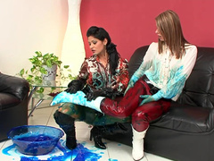 Clothed ladies in gooey mess video