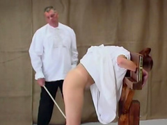 Caned ass of mental patient turns red