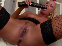 Bleached Biancca is sucking her anal dildo