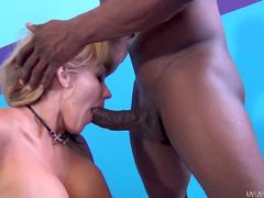 Hot blonde Nikki Sexx fucks with black dick