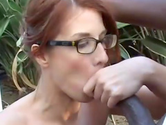Redhead babe Ruby Jewel gets black dick in mouth