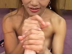 Whore makeup on cute Asian handjob slut