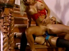 Latex ladies make strapon lesbian porn