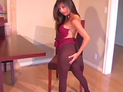 Purple pantyhose for that Asian ass