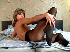 Gina takes off her tight black nylons