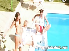 Three chicks secret bang by the pool