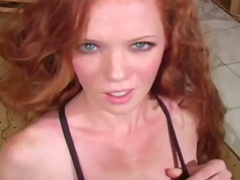 Shameless angel with curly hair is showing her pussy
