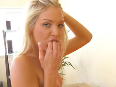 Shaved pussy of Franziska is so skinny and wet