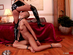 C.Submissive J is licking feet and boots of Lucy Belle in HD