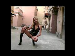 Yulya posing in the public place, insane lady!