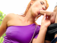 Redhead babe is fucking and getting piss