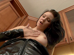 Brunette Alisa Cage is penetrating her nice pussy