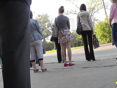 Outdoor footage of sexy ass upskirt in public