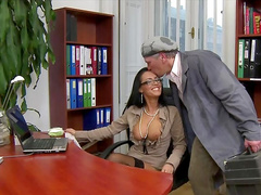 Sweet secretary is giving an awesome blowjob