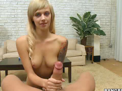 Yummy little blonde strokes shaft