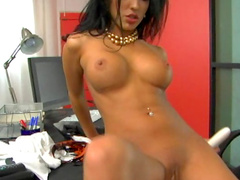 Hot as hell brunette Maya Gates is fucking her puss