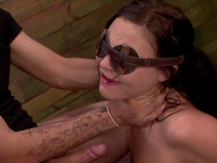 Obedient babe made to suck cock blindfolded